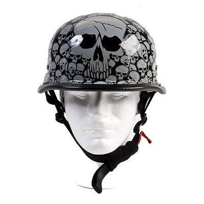 Motorcycle riders German Grey Skull Graveyard novelty helmet