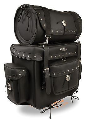 MOTORCYCLE LARGE 2 PC PVC STUDDED TOURING TRAVEL BAG BAR LUGGAGE W/RAIN COVER