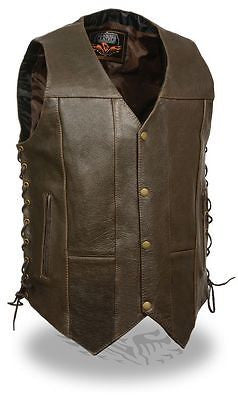 MEN'S 10 POCKET DISTRESSED Retro BROWN LEATHER VEST 2 GUN POCKETS