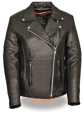 WOMEN'S MOTORCYCLE MC STYLE WITH BRAID & STUD BACK DETAILING W/2 GUN POCKETS