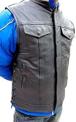 MEN'S ANARCHY LEATHER MOTORCYCLE VEST 2 GUN POCKETS WITH SIDE LACES NAKED