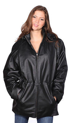 WOMEN'S MID-LENGTH PARKA GENIUNE LEATHER REMOVABLE LINING & HOOD VERY SOFT