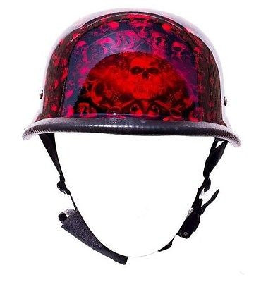 Motorcycle riders German Burgandy Graveyard Skull Novelty Helmet