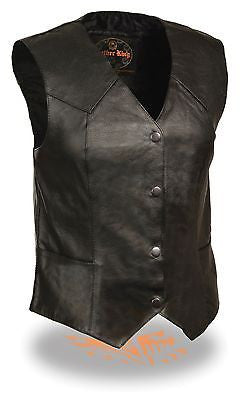 WOMEN'S MOTORCYCLE CLASSIC BIKER VEST W/4 SNAP BUTTONS & 2 GUN POCKETS INSIDE