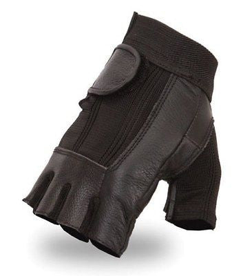 MOTORCYCLE MEN'S FINGERLESS SPENDAX GLOVES VERY SOFT LEATHER WITH MESH &GEL PALM
