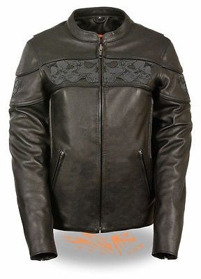 WOMEN'S REFLECTIVE SKULL MOTORCYCLE LEATHER CROSSOVER SCOOTER JACKET NEW BLACK