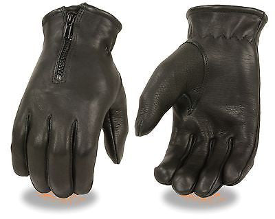 MEN'S UNLINED DRIVING GLOVES VERY SOFT LEATHER DEER SKIN WITH ZIPPER BLACK COLOR