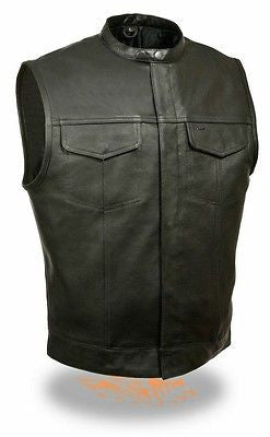 MEN'S SON OF ANARCHY LEATHER MOTORCYCLE VEST 1 GUN POCKET INSIDE SNAP CLOSURE