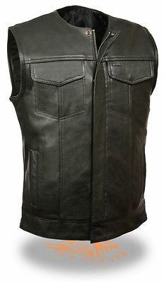 MEN'S SON OF ANARCHY LEATHER MOTORCYCLE VEST 2 GUN POCKETS INSIDE PREMIUM