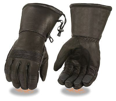 MEN'S GENUINE LEATHER WATERPROOF GUANTLET KNUCKLES GLOVES & DRAWSTRING CUFFSOFT