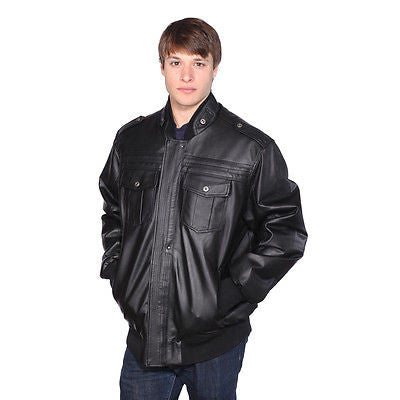 MEN'S BLK BOMER LEATHER JACKET WITH ZIPOUT LINNING INSIDE 5 POCKETS VERY WARMNEW