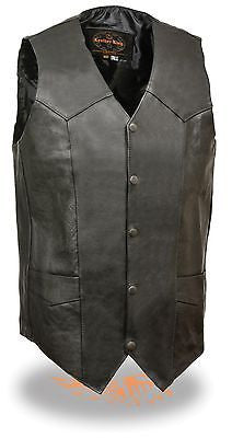 MEN'S CLASSIC TALL BIKER VEST W/5 SNAP BUTTONS WITH V NECK TALL VEST