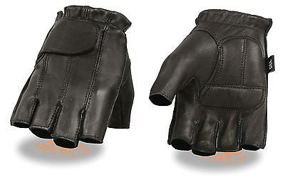 MEN'S FINGERLESS W/GEL PALM & VELCROFLAP VERY SOFT LEATHER DEER SKIN BLACK COLOR