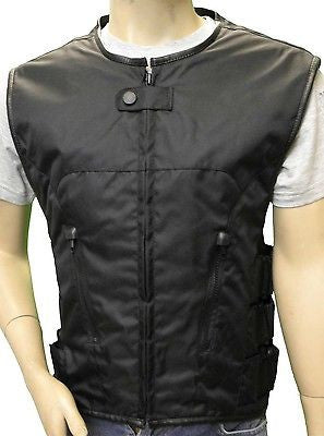 MEN'S BIKER UPDATED BLACK SWAT TEAM STYLE TEXTILE MOTORCYCLE VEST NEW