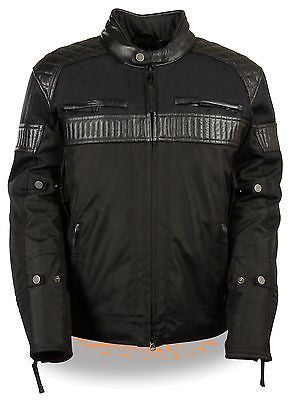 MEN'S MOTORCYCLE SCOOTER TEXTILE JACKET W/LEATHER TRIM &SNAPCOLLAR 2 GUN POCKETS