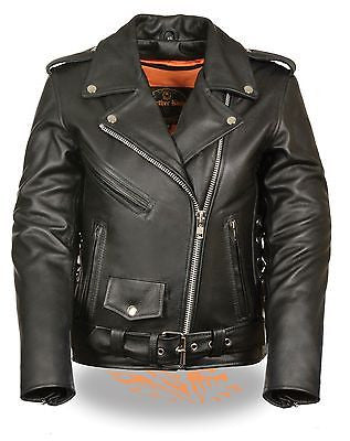 Women's Motorcycle Classic old school police style leather jacket with side laces