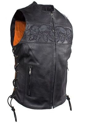 MOTORCYCLE RIDERS LADIES SKULL LEATHER ZIPPER VEST WITH LACES & 2 GUN POCKETS