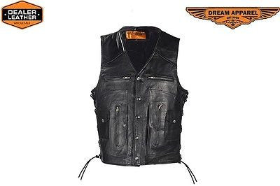 MEN'S MOTORCYCLE 12 POCKET LEATHER VEST W/SIDE LACES & 2 GUN POCKETS COW SKIN