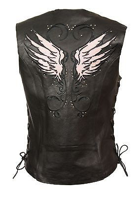 WOMEN'S MOTORCYCLE RIDING PINK LEATHER VEST W/ STUD & WINGS DETAILING SIDE LACE
