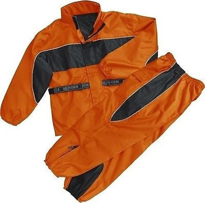MOTORCYCLE MOTORBIKE RAIN GEAR WOMENS RAIN SUIT WATERPROF LIGHTWEIGHT BLK ORNGE