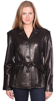 Women's Button down butter soft nz lamb skin leather jacket with belt
