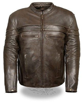 MEN'S MOTORCYCLE RETRO BROWN LEATHER JACKET WITH 2 GUN POCKETS INSIDE