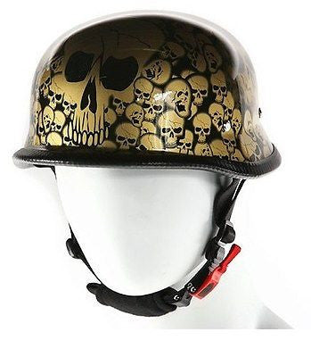 Motorcycle riders German gold skull graveyard novelty helmet