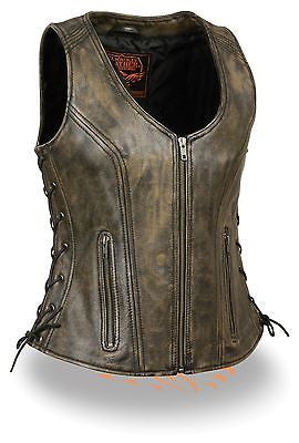 WOMEN'S MOTORCYCLE DISTRESSED LEATHER BROWN VEST W/SIDE LACES & 2GUN POCKETS