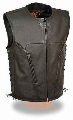 MEN'S LEATHER MOTORCYCLE 6 POCKET CLUB VEST WITH SIDE LACES VERY SOFT COW