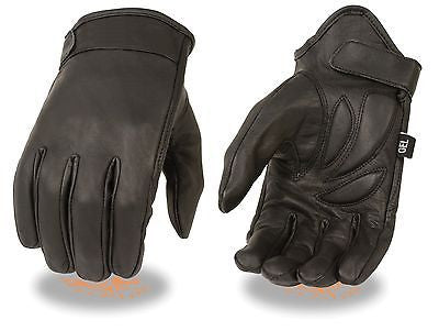 MEN'S PREMIUM LEATHER SHORT WRISTED CRUISER GLOVE WITH VELCRO STRAP & GEL PALM