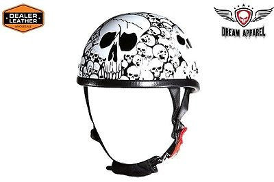 MOTORCYCLE WHITE EAGLE NOVELTY HELMET WITH SKULL GRAPHIC W/CHIN STRAPCOMFORTABLE
