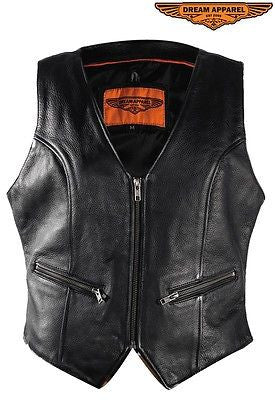 Motorcycle women's biker blk leather front zipper vest with 2 Gun pockets