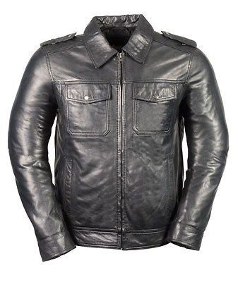 MEN'S CLASSIC GENUINE BLK SHIRT COLLAR STYLE LEATHER JACKET GREAT PRICE