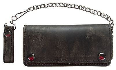 MEN'S MOTORCYCLE DISTRESSED BIKER BIFOLD LEATHER SILVER CHAIN WALLET NEW