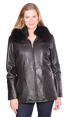 WOMEN'S MID-LENGTH PARKA BUTTER SOFT LAMB LEATHER REMOVABLE LINING & HOOD