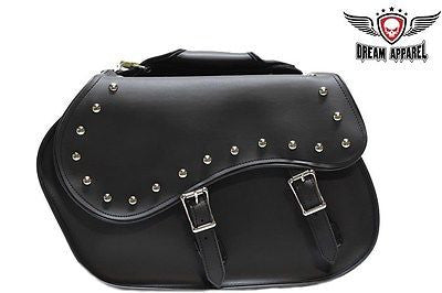 MOTORCYCLE 2 PC WATERPROOF STUDDED PVC SADDLEBAG AND HARD SHEET INSIDE