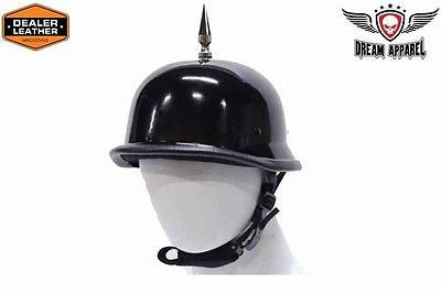 MOTORCYCLE SHINY SPIKE GERMAN NOVELTY HELMET FIBER GLASS NOT DOT APPROVED