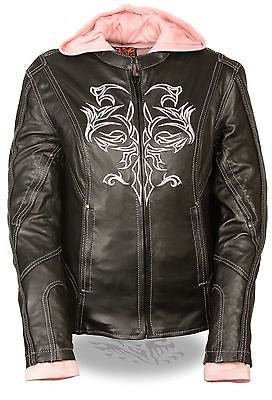 WOMEN'S MOTORCYCLE RIDING BLK/PINK LEATHER JACKET W/REFLECTIVETRIBAL DETAILNAKED
