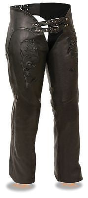 MOTORYCLE WOMEN BLK VERY SOFT LEATHER CHAP W/REFLECTIVE TRIBAL EMBRIODERY