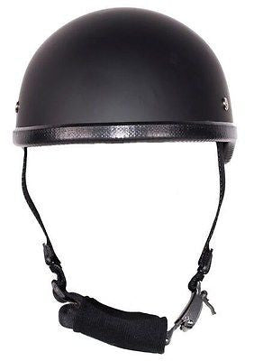 MOTORCYCLE FLAT BLACK SKULL CAP NOVELTY HELMET BLACK W/CHIN STRAP GREAT PRICENEW