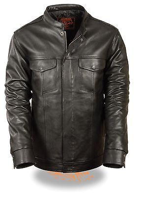 Men's Biker son of anarcy leather motorcycle full sleeve leather jacket light weight