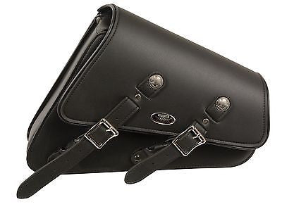 MOTORCYCLE SWING ARM SADDLEBAG PLAIN TWO STRAP WITH BUFFALO NICKEL LEFT SIDE