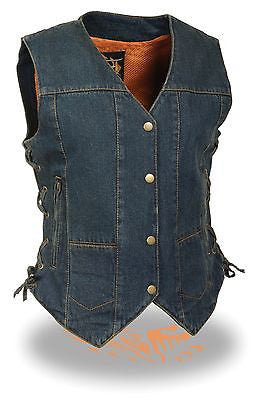 WOMEN'S MOTORCYCLE BLUE 6 POCKET TEXTILE VEST WITH SIDE LACES TWO GUN POCKETS