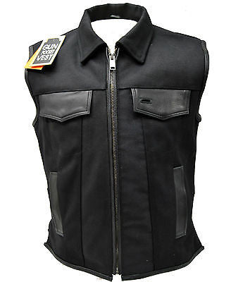 MEN'S SON OF ANARCHY SHIRT COLLAR CANVAS MOTORCYCLE VEST 2 GUN POCKETS NEW