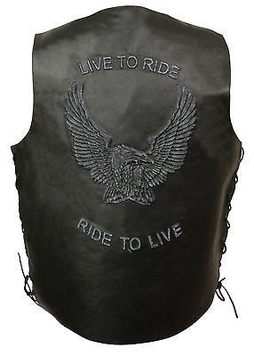 Men's Motorcycle Blk Side Lace leather vest with Live to Ride embossed back