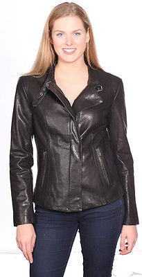 WOMEN'S FRONT ZIPPER SHORT BIKER MOTO JACKET REAL LEATHER VERY SOFT