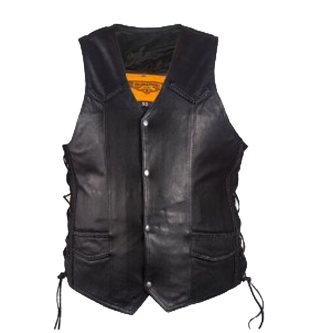 MEN'S MOTORBIKE BUTTER SOFT SIDE LACE BRAIDED LEATHER VEST & 2 GUN POCKETS