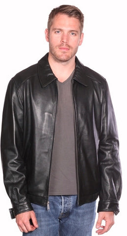 Men's Blk Classic traditional bomer leather jacket with bottom elastics