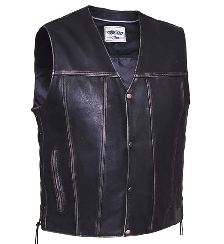 Men's 10 Pocket Blk Rub off patch holder Leather vest with 2 Gun pockets inside