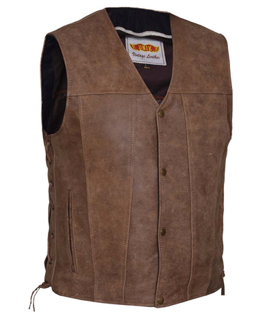 Men's 10 Pocket Brn Antiqe Vintage Tan 10 Pocket Leather vest with 2 Gun pockets inside